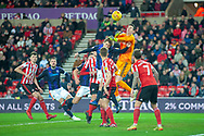 Jon McLaughlin (#1) of Sunderland AFC punches clear from a corner during the EFL Sky Bet League 1 match between Sunderland AFC and Luton Town at the Stadium Of Light, Sunderland, England on 12 January 2019.