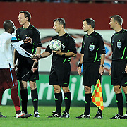 Referee's Bjorn KUIPERS (3ndL) during their UEFA Champions League group stage matchday 2 soccer match Trabzonspor between Lille at the Avni Aker Stadium at Trabzon Turkey on Tuesday, 27 September 2011. Photo by TURKPIX
