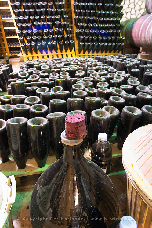 Bottles for sparkling wine standing upside down in a sort of pupitres racks made from palettes. Other bottles in traditional racks. Demijohn in the foreground. Vita@I Vitaai Vitai Gangas Winery, Citluk, near Mostar. Federation Bosne i Hercegovine. Bosnia Herzegovina, Europe.