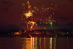 Fourth of July Fireworks along the Milford Beaches, this view of Bayshore as seen from the west tip of Point Beach. Neighborhoods presenting their own Displays along the Shorelines, seen as far away as Fairfield and beyond from this location.