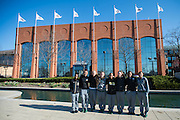 April 2, 2016; Indianapolis, Ind.; Members of the UAA women's basketball team pose front of the NCAA Hall of Champions before their green screen session at the NCAA Headquarters.