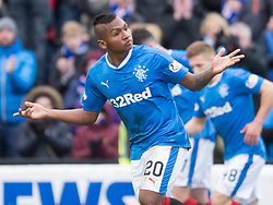 Rangers' Alfredo Morelos celebrates scoring his side's first goal of the game during the William Hill Scottish Cup, fifth round match at Somerset Park, Ayr.