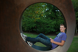 Washginton, Bellevue, Teen boy in copper sculpture.   MR