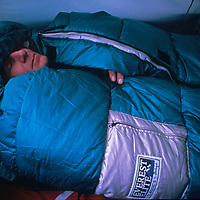 Expedition leader Will Steger sleeps in his tent at the South Pole, halfway through the 1989-1990 Trans-Antarctica Expedition.