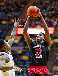 Dec 22, 2018; Morgantown, WV, USA; Jacksonville State Gamecocks guard Marlon Hunter (23) shoots during the first half against the West Virginia Mountaineers at WVU Coliseum. Mandatory Credit: Ben Queen-USA TODAY Sports