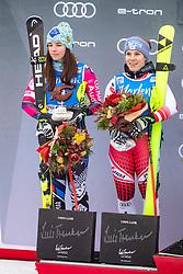 19.12.2018, Saslong, St. Christina, ITA, FIS Weltcup Ski Alpin, SuperG, Damen, Flower Zeremonie, im Bild v.l. Tina Weirather (LIE, 2. Platz), Nicole Schmidhofer (AUT, 2. Platz), // f.l. second placed Tina Weirather of Liechtenstein, second placed Nicole Schmidhofer of Austria during the Flowers ceremony for the ladie's Super-G of FIS Ski Alpine World Cup at the Saslong in St. Christina, Italy on 2018/12/19. EXPA Pictures © 2018, PhotoCredit: EXPA/ Johann Groder