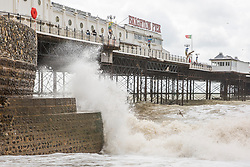 © Licensed to London News Pictures. 11/08/2019. Brighton, UK. A handful of people take to the beach in Brighton and Hove as strong gusts of wind continue to his the coast in Brighton and Hove. Photo credit: Hugo Michiels/LNP