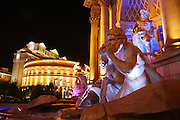 A replica of the famous Trevi Fountain in front of Caesars Palace and the Forum Shops along the Las Vegas Strip, Nevada.