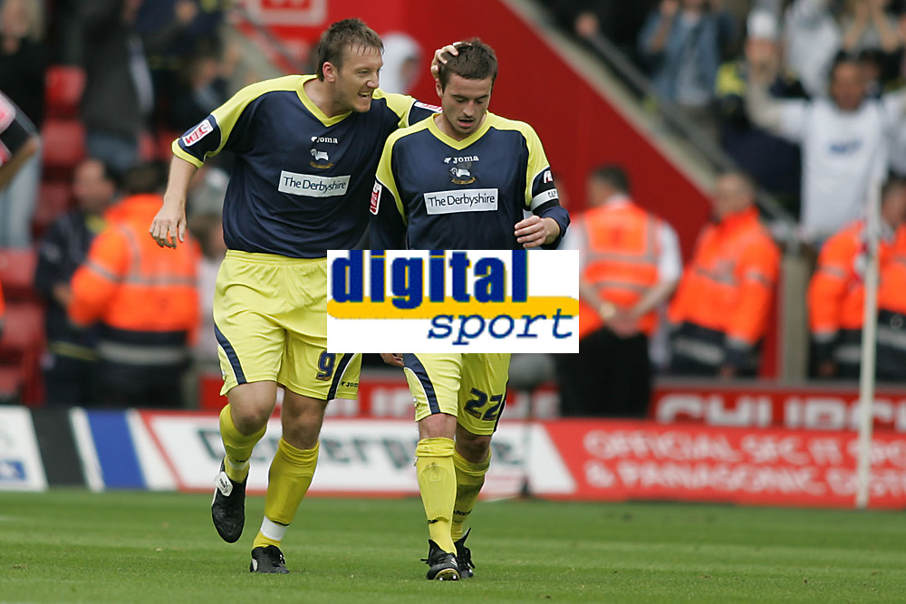 Photo: Lee Earle.<br /> Southampton v Derby County. Coca Cola Championship. Play Off Semi Final, 1st Leg. 12/05/2007. Derby's Steve Howard (L)celebrates with Matt Oakley after he scored their second.