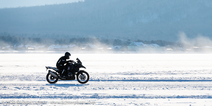 On the mile long track at the Baikal Mile Ice Speed Festival. Maksimiha, Siberia, Russia. Friday, February 28, 2020. Photography ©2020 Michael Lichter.