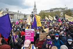 London, UK. 1st May, 2021. Thousands of people attend a Kill The Bill demonstration in Trafalgar Square as part of a National Day of Action on International Workers Day. Nationwide protests have been organised against the Police, Crime, Sentencing and Courts Bill, which would grant the police a range of new discretionary powers to shut down protests.