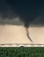 Helical vortexes dance inside a tornado near Wilcox, Nebraska, June 30, 2018.