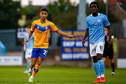 Tyrese Sinclair of Mansfield Town marks Josh Wilson-Esbrand of Manchester City - Mandatory by-line: Ryan Crockett/JMP - 08/09/2020 - FOOTBALL - One Call Stadium - Mansfield, England - Mansfield Town v Manchester City U21 - Leasing.com Trophy