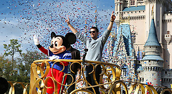 Super Bowl LIII winning quarterback Tom Brady of the New England Patriots celebrates with Mickey Mouse in the Super Bowl victory parade in the Magic Kingdom on Monday, February 4, 2019 at Walt Disney World, in Lake Buena Vista, FL, USA. Photo by Joe Burbank/Orlando Sentinel/TNS/ABACAPRESS.COM