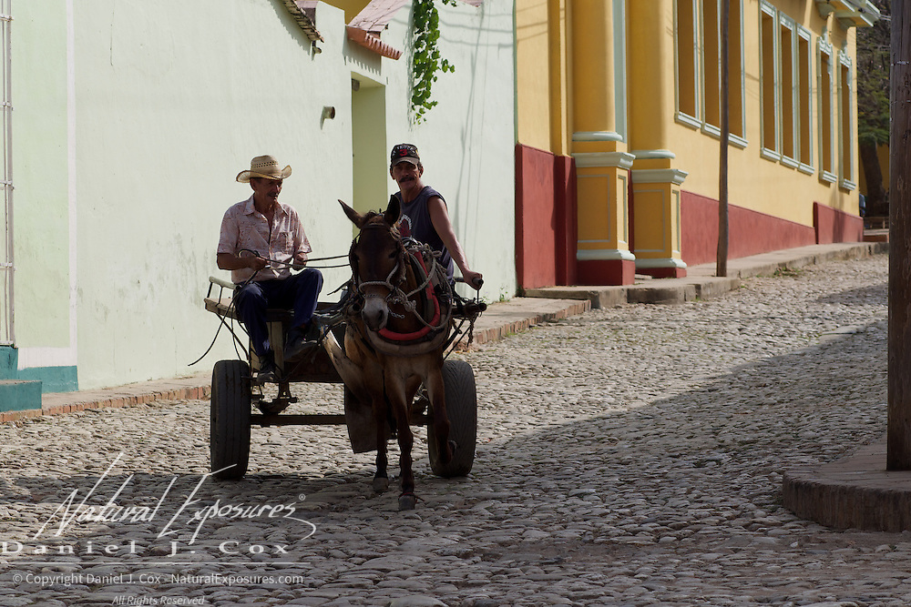 Traveling the streets of Trinidad in a Donkey Cart, Cuba.