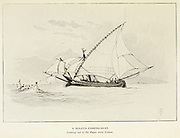 Sketch of a Moleta Fishing-Boat Coming out of the Tagus from Lisbon, Portugal from the book ' Pen and pencil sketches of shipping and craft all round the world ' by Pritchett, Robert Taylor Published in London in 1899
