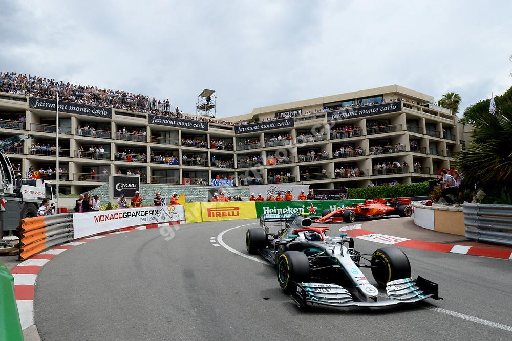 Valtteri Bottas (Mercedes) leading Sebastian Vettel (Ferrari) during the 2019 Monaco Grand Prix. Photo: Grand Prix Photo