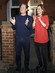 © Licensed to London News Pictures. 09/04/2020. London, UK. Recently elected Labour Party Leader Sir Keir Starmer and his wife Vic join in with the 'Clap for Carers' applause outside their north London home. The government has warned that people must continue to follow the public health guidance over the upcoming Easter weekend. Photo credit: Peter Macdiarmid/LNP