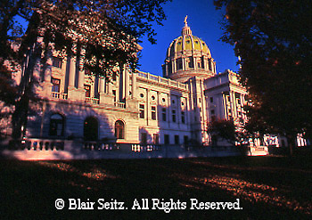 PA Capitol, from Northwest,  Joseph, Huston, Architect, Harrisburg, Pennsylvania