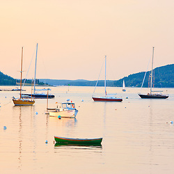 Boats in Mansett Harbor, Maine.  Looking into Somes Sound.