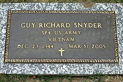 31 August 2017:   Veterans graves in Park Hill Cemetery in eastern McLean County.<br /> <br /> Guy Richard Snyder  SP4 US Army Vietnam  Dec 23 1944 Mar 31 2005