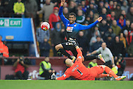 Joshua King of Bournemouth beats goalkeeper Brad Guzan of Aston Villa to score his teams second goal.<br /> Barclays Premier League match, Aston Villa v AFC Bournemouth at Villa Park in Birmingham, The Midlands on Saturday 09th April 2016.<br /> Pic by Ian Smith, Andrew Orchard Sports Photography.