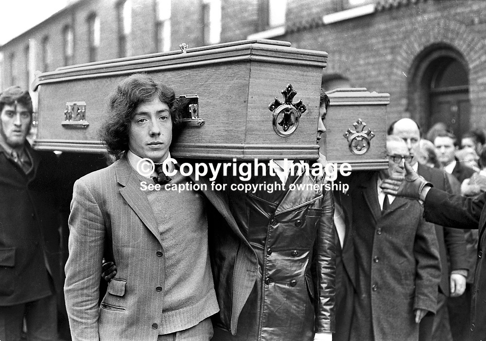 Funeral of four Provisional IRA members killed in car explosion on the Knock Dual Carriageway, Belfast, presumably on their way to a bombing target. The dead men were Gerard Steele, Gerard Bell, Joseph Magee and Robert Dorrian, all from the Short Strand area of Belfast, from where the funeral went to Milltown Cemetery. NI Troubles. Ref: 19720223001.<br /> <br /> Copyright Image from Victor Patterson, Belfast, UK<br /> <br /> t: +44 28 9066 1296 (from Rep of Ireland 048 9066 1296)<br /> m: +44 7802 353836<br /> <br /> victorpattersonbelfast@gmail.com<br /> www.images4media.com<br /> <br /> Please see my Terms and Conditions of Use at https://www.images4media.com/p/terms-conditions  It is IMPORTANT that you familiarise yourself with them.<br /> <br /> Images used on the Internet incur an additional cost and must be visibly watermarked i.e. © Victor Patterson within the body of the image and copyright metadata must not be deleted. Images used on the Internet have a size restriction of 4 kbs and are chargeable at rates available at victorpatterson.com.<br /> <br /> This image is only available for the use of the download recipient i.e. television station, newspaper, magazine, book publisher, etc, and must not be passed on to any third party. It is also downloaded on condition that each and every usage is notified within 7 days to victorpattersonbelfast@gmail.com<br /> <br /> The right of Victor Patterson to be identified as the author is asserted in accordance with The Copyright Designs And Patents Act (1988). All moral rights are asserted.