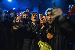© Licensed to London News Pictures. 08/05/2021. Bolton, UK. Bolton Wonderers supporters celebrate outside the University of Bolton Stadium after BWFC won promotion to league one . Photo credit: Joel Goodman/LNP