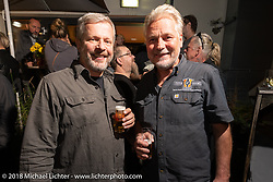 Andreas Scholz with friends at the Custom Chrome Europe party during the Intermot International Motorcycle Fair. Cologne, Germany. Friday October 5, 2018. Photography ©2018 Michael Lichter.