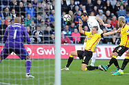 Swansea's Fernando Llorente has his shot at goal blocked by Watford's Sebastian Prodl (5). Premier league match, Swansea city v Watford at the Liberty Stadium in Swansea, South Wales on Saturday 22nd October 2016.<br /> pic by  Carl Robertson, Andrew Orchard sports photography.