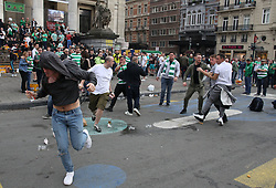 27 September 2017 Brussels: an isolated scuffle breaks out amongst the largely well behaved Celtic fans in the city centre before the Champions League match against Anderlecht: Photo: Mark Leech