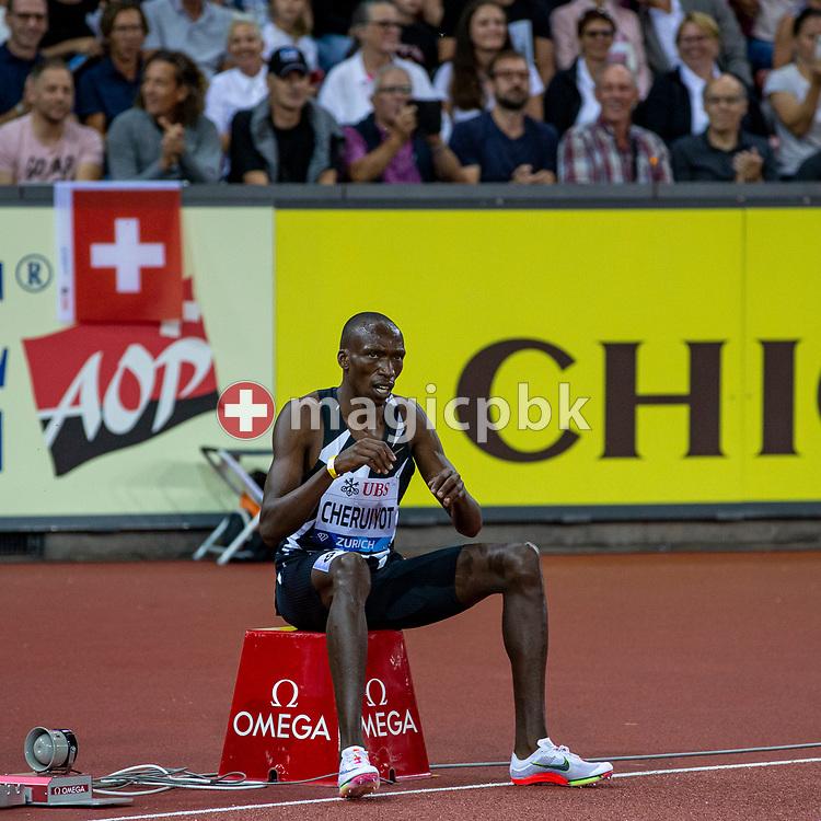 Timothy Cheruiyot of Kenya celebrates after winning at the 1500m Men during the Iaaf Diamond League meeting (Weltklasse Zuerich) at the Letzigrund Stadium in Zurich, Switzerland, Thursday, Sept. 9, 2021. (Photo by Patrick B. Kraemer / MAGICPBK)