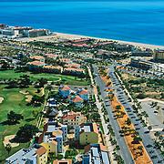 Aerial view of San Jose del Cabo hotel zone. Baja California Sur, Mexico.
