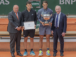 Bernard Giudicelli, Dominic Thiem, Rafael Nadal, Rod Lever, during the trophy ceremony of the French Tennis Open Day 15 at Roland-Garros arena on June 09, 2019 in Paris, France. Photo by ABACAPRESS.COM