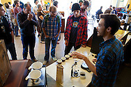 Broadway Coffeehouse in Salem, Oregon.  The public coffee tasting.