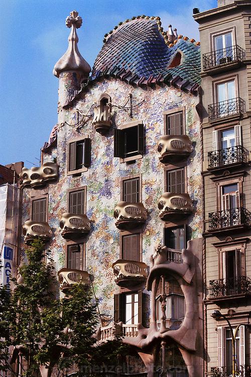 Casa Batlo: a Gaudi designed apartment building in Barcelona, Spain.