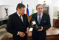 Zoran Jankovic, Mayor of Ljubljana  and Michel François Platini, president of Union of European Football Associations (UEFA) at his visit in Slovenia prior to the UEFA European Under-17 Championship Final match between Germany and Netherlands on May 16, 2012 in City Hall, Ljubljana, Slovenia. (Photo by Vid Ponikvar / Sportida.com)