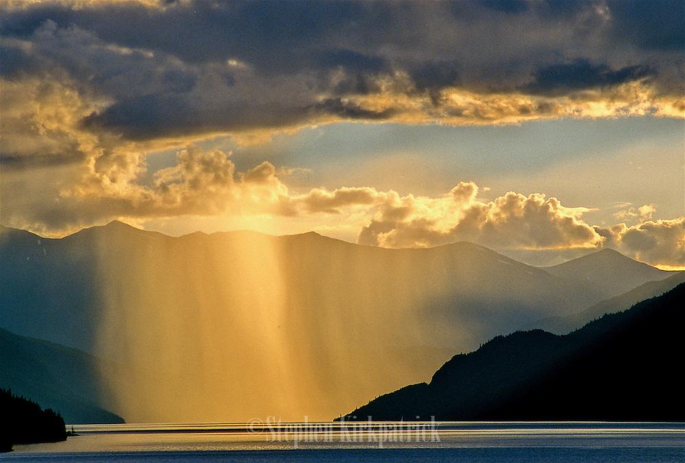 Rainstorm at sunset on Kenai Lake - Alaska.