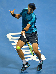 Guido Pella of Argentina returns the ball to  Andrey Rublev of Russia during their semi final  of ATP Qatar Open Tennis match at the Khalifa International Tennis Complex in Doha, capital of Qatar, on January 05, 2018. Andrey Rublev won 2-1  (Credit Image: © Nikku/Xinhua via ZUMA Wire)