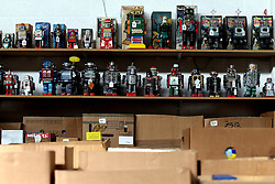 © London News Pictures. 13/03/2016. Toy robots on display at Vectis Auction House in Thornaby, England March 11 2016. Around 1000 pieces from a North Yorkshire couple will go under the hammer on March 15. The collection was built over 40 years and includes pieces from 1939 to the mid 90's . Photo credit: Nigel Roddis/LNP