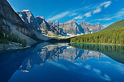Moraine Lake and the Wenkchemma Peaks<br /> Banff National Park<br /> Alberta<br /> Canada