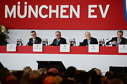 27.11.2015, Audi Dome, Muenchen, GER, FC Bayern Muenchen, Jahreshauptversammlung 2015, im Bild vl. Jan-Christian Dressen ( FC Bayern Muenchen ), Karl-Heinz Rummenigge ( FC Bayern Muenchen ), Rudolf Schels (FC Bayern Muenchen) und Karl Hopfner ( FC Bayern Muenchen ) // during the 2015 Annual General Meeting of german football club FC Bayern Munich at the Audi Dome in Muenchen, Germany on 2015/11/27. EXPA Pictures © 2015, PhotoCredit: EXPA/ Eibner-Pressefoto/ Vallejos<br /> <br /> *****ATTENTION - OUT of GER*****