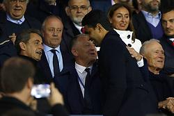 September 17, 2017 - Paris, France - Nicolas Sarkozy, Jean-Michel Aulas, Nasser Al-Khelaïfi attend the Ligue 1 match between Paris Saint Germain and Olympique Lyonnais at Parc des Princes on September 17, 2017 in Paris. (Credit Image: © Mehdi Taamallah/NurPhoto via ZUMA Press)