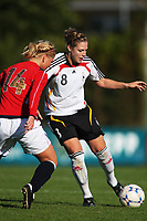 STAVANGER, NORWAY - JUNE 24 :  Kim Kulig (GER) - Caroline Walde (NOR) the U19 women international friendly match between Norway and Germany at the klepp stadium  on June 24, 2008 in Stavanger, Norway. (Photo by Sigbjoern Anderas Hofsmo, Digitalsport, Bongarts/Getty Images for DFB)