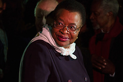 """London, October 23 2017. Nelson Mandela's group of Elders including former UN Secretary General Kofi Annan and Secretary General Ban Ki-moon accompanied by his widow Graca Machel gather at Parliament Square at the start of the Walk Together event in memory of Nelson Mandela before a candlelight vigil at his statue in Parliament Square. """"WalkTogether is a global campaign to inspire hope and compassion, celebrating communities working for the freedoms that unite us"""". PICTURED: Graca Machel in Parliament Square © Paul Davey"""