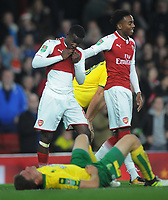 Football - 2017 / 2017 EFL (League) Cup - Fourth Round: Arsenal vs. Norwich City<br /> <br /> Hero Eddie Nketiah of Arsenal who scored two goals after coming on as a substitute is congratulated by team mate Joe Willock after the match at The Emirates.<br /> <br /> COLORSPORT/ANDREW COWIE