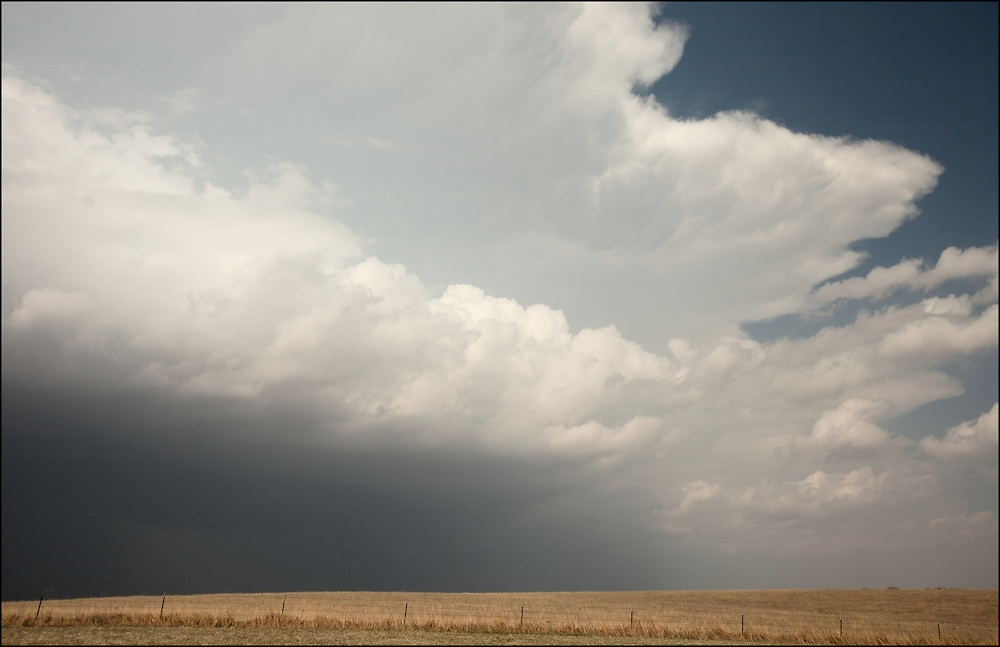 Leading edge of a severe thunderstorm off of Interstate 35 near Billings, Oklahoma.