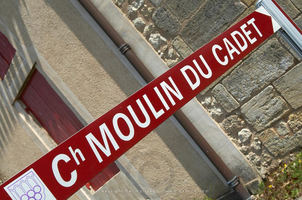 street sign ch moulin du cadet saint emilion bordeaux france