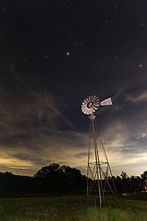Windmill at night, Block Creek Natural Area, Fredericksburg, Texas, USA