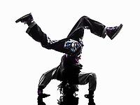 one hip hop breakdancer breakdancing handstand man silhouette white background